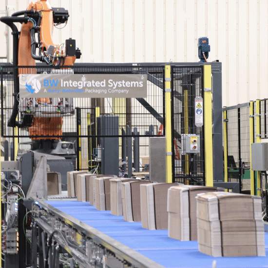 Robotic Bundle Palletizer, product being fed