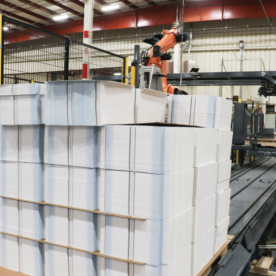 Robotic Bundle Palletizer, stack of bundles